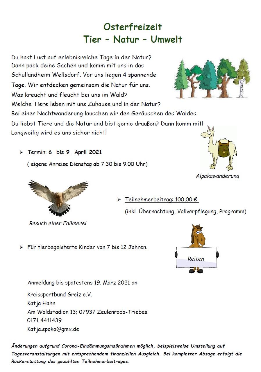 Ausschreibung Osterferien Wellsdorf 2021